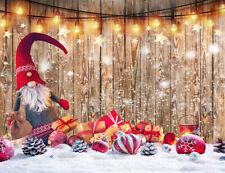 Rustic Wood Boards Background Santa Dwarf Gifts Xmas Balls Photography Backdrop