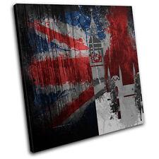 Union Jack Grunge Palace Urban SINGLE CANVAS WALL ART Picture Print VA