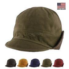 42640799351 Cotton Faux Leather Floppy Short Brim Hiphop Baseball Cap Aviator Trapper  Hat