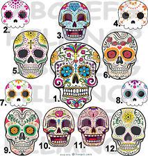 ADESIVO TESCHIO messicano STICKERS fiori Sugar SKULL (SCEGLI tra 12) AUTO MOTO