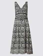 M&S COLLECTION Floral Lace Sleeveless V-Neck Skater midi length Dress size 6-22