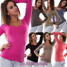 Maglietta blusa maglia donna scollo V jersey viscosa sottogiacca AS-8568