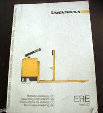 Betriebsanleitung Jungheinrich ERE KmS 20 Fahrerstand-Gabelhubwagen Elektro 1988