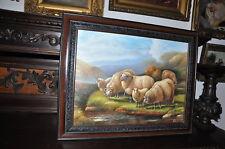 spectacular Vintage   sheep Landscape  painting