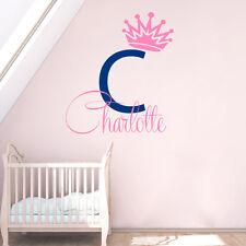 Baby Name Wall Decal Girl Vinyl Sticker Princess Crown Decal Nursery Decor KI103