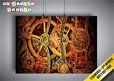 Poster steampunk clock Squelette Mécanique Horloge Wall Art