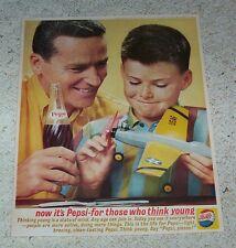 1962 old ad page -Pepsi Cola soda pop- Cute boy airplane Dad - VINTAGE ADVERT