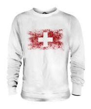 Svizzera Bandiera Effetto Consumato Unisex Maglione Schweiz Suisse Swiss