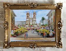 F. NERI Santissima Trinita dei Monti scale spagnola immagine muro con cornice 90x70