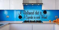 A Balanced Diet Cupcake in Each Hand Kitchen Cafe Vinyl wall art Decal Sticker