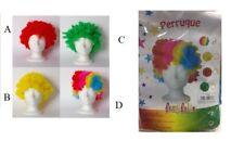 Parrucca Carnevale Clown Pagliaccio Riccia Rossa Gialla Verde Multicolor Festa