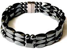 Men's Women's Powerful 100% Magnetic Hematite Bracelet Anklet 3 Row QUICK Ship