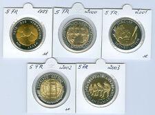 SUISSE 5 francs commémorative pièce de monnaie (Choisissez entre : 1999-2003)