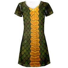 Halloween Green Dragon Costume All Over Juniors V-Neck Dress