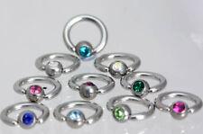 Ball Closure Ring with CRYSTAL Gem- Tragus - Personal- Lip - Eye - Navel-