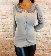 Damen Bluse Tunika Oberteil Knöpfe Top Pulli Langarm Shirt Gr. 40,42,46,48