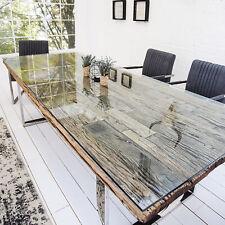 Esstisch BARRACUDA antik Teak Holz mit Stahl Kufenfüßen Holztisch Tische Holz