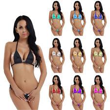 Sexy Women Swimwear Metallic Micro Bra Lingerie Thong Bikini Brazilian Swimwear