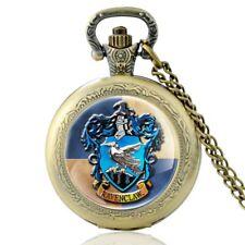 Antique Harry Potter Ravenclaw Pocket Watch Quartz Eagle Pendant Necklace Chain