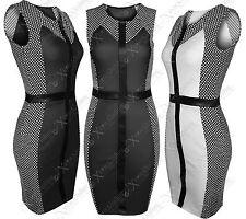 NEW WOMENS LADIES TEXTURE DOT SIDE BODYCON DRESSES BLACK WET LOOK SLIMMING DRESS