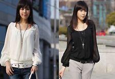 Chiffon Langarm Bluse Tunika Longshirt Japan Style 34 36 38 40