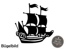 Bügelbild Piratenschiff  XXL Wunschfarbe Flex Glitzer Flock