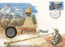 superbe enveloppe NEPAL pièce monnaie timbre