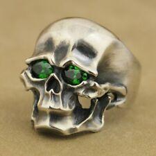 Green CZ Heavy 925 Sterling Silver Skull Mens Biker Punk Ring TA45C UK #N½~#Z4