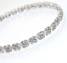 Plumeria Floral Bangle Bracelet Real 925 Sterling Silver 3D Detail Anti Tarnish