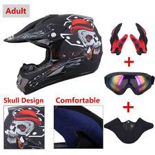 DOT Adult Dirt Bike ATV MX Helmet Motocross+Goggles+Gloves Size S/M/L/XL