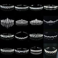 Bridal Princess Rhinstone Crystal Hair Tiara Wedding Crown Veil Headband Silver
