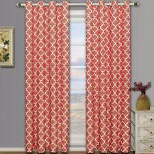 Coral Meridian Room Darkening Grommet Window Curtain Drapes Set of 2 Panels