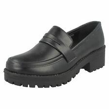 Ladies Spot On Mid Chunky Heel Loafers
