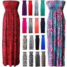New Womens Ladies Printed Gathered Boobtube Bandeau Sheering Maxi Dress UK 8-22