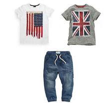 3pcs Kids Baby Boy Summer Suit Short Sleeve White/Gray Shirt+Jeans Pants Clothes