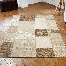 Designer Patchwork Beige Tapestry Rugs - 5 Size Inc Large & A Hallway Runner