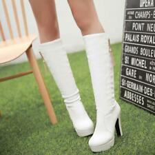 Damen Schuhe Pumps Plateau Stiefel Lederstiefel Kneehoch Highheel