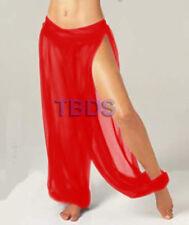 Red Women Student 1Slit Harem Yoga Genie Trouser Belly Dance Pant Size S~3XL