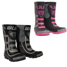 Wulfsport Kids Mud Stomper Wellington Boots Quad MX Motocross Youth Black Pink