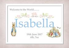 Newborn Baby Print Gift Girl Boy Personalised  Christening Peter Rabbit