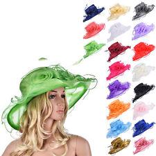 85d0691d13b69 Women Organza Flower Kentucky Derby Wide Brim Sun Hat Formal Party Church  A341