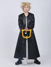 Kingdom Hearts Organization XIII Roxas Halloween Costume Black Leather Overcoats