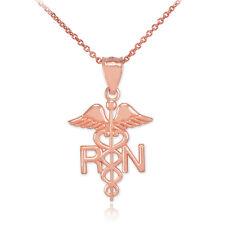 10k Rose Gold Medical RN Registered Nurse Pendant Necklace