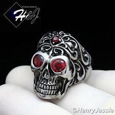 BIKER MEN Stainless Steel Red Eye/Silver Black Skull Face Ring Size 7-12*R108