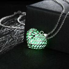 Herz Anhänger Kette Silber Glow in the Dark Grün Cyan Lavendel leuchtet