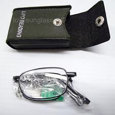 Bifocal folding reading glasses metal compact case clear power men women new