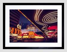 Cityscape Neón Nevada Casino de Las Vegas Negro Impresión Arte Enmarcado Foto B12X4759