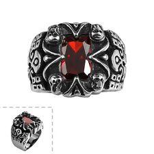 Stainless Steel Gothic Biker Tribal Ring Black Red Men's UnIsex B202