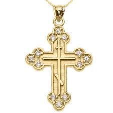 Oro Amarillo Diamante Oriental Ortodoxo Collar con Cruz