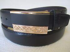 "New Men's Casual Dress Leather Belt Black/ Gold Color Fashion Buckle 1 1/2"" Wide"